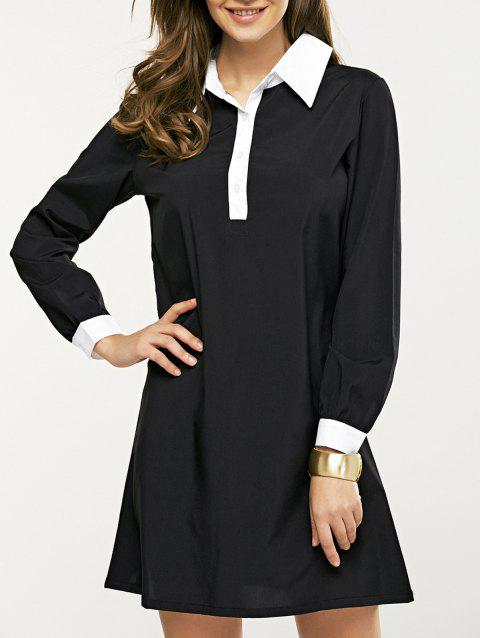 17 Off 2018 Long Sleeve Splicing Buttoned Contrast Color Dress In