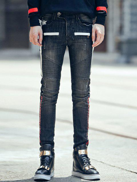 Skinny Zipper Fly Crinkly Spliced Scrtched Jeans - BLACK XL