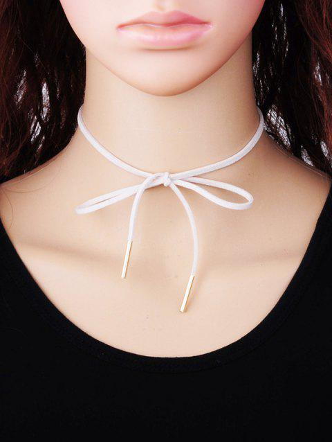 Bowknot Faux Suede Choker Necklace - WHITE