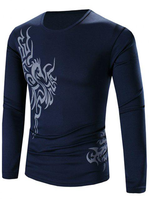 Casual Round Neck Long Sleeves Printed Tee - DEEP BLUE 2XL