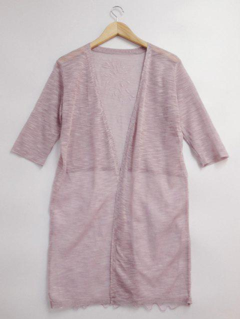 See-Through Lace Spliced Embroidery Cardigan - PINK ONE SIZE