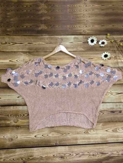 Batwing Sleeves Openwork Sequined Sweater - PINK ONE SIZE