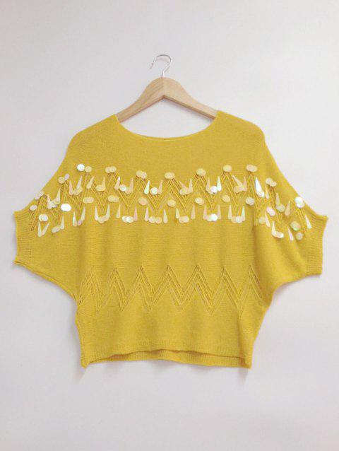 Batwing manches Zig Zag Paillette Conception Pull - Jaune ONE SIZE
