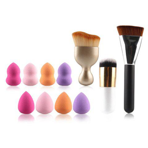 8 Pcs Dual-Use Dry and Wet Makeup Sponge + S-Shape Blush Brush + Contour Brush + Foundation Brush - COLORMIX