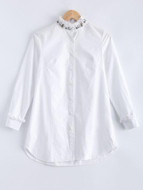 Ruffled Collar Pure Color Flounce Beaded Blouse - WHITE L