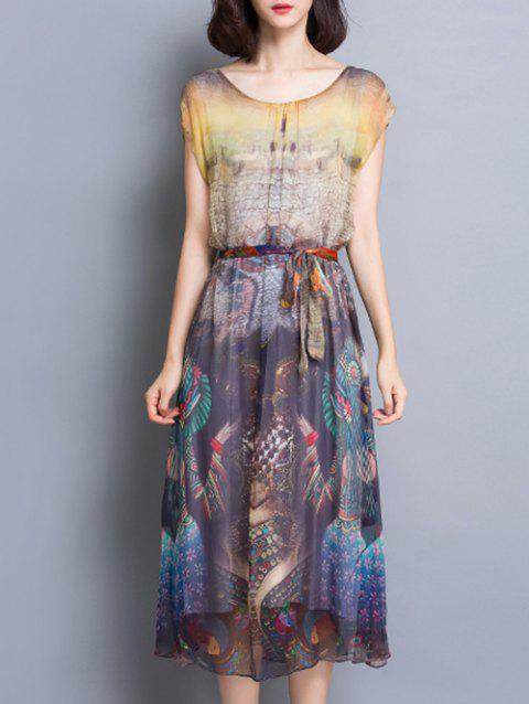 High Waist Ethinc Print Midi Dress - COLORMIX XL
