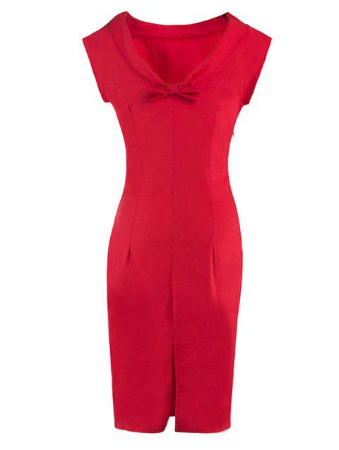 Bowknot Embellished Furcal Skinny Dress - Rouge XL