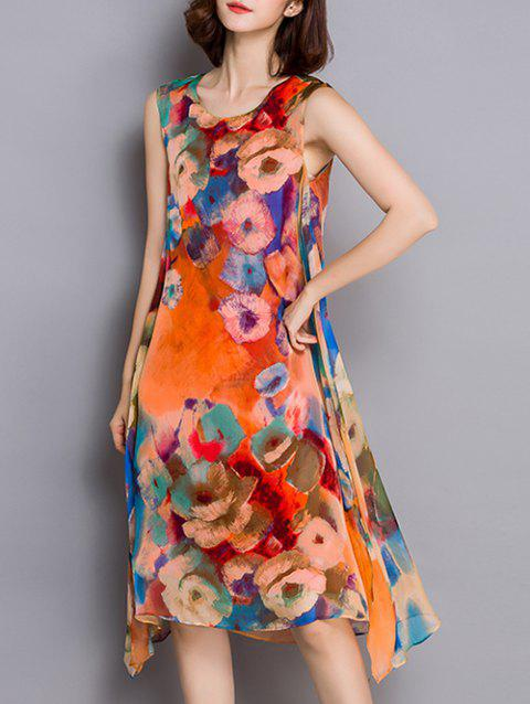 Asymmetric Floral Print Tie-Dyed Dress - ORANGE RED M