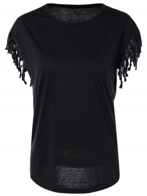 Casual Jewel Neck T-Shirt manches Cap - Noir M
