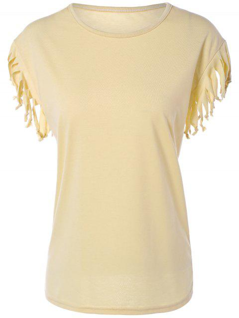 Casual Jewel Neck T-Shirt manches Cap - Beige M