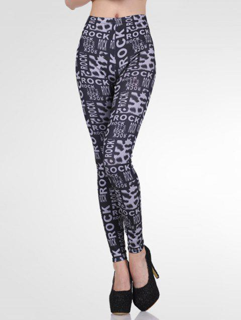 High-Waisted Stretchy Letter Print Slimming Leggings - BLACK GREY ONE SIZE