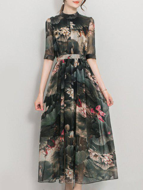 Lotus Print High Waist Maxi Dress - BLACKISH GREEN S