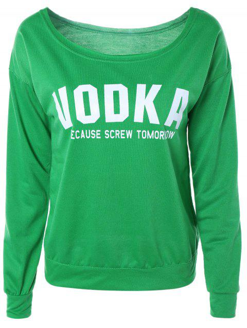 Lettre Casual Loose-Fitting Sweatshirt - Vert S