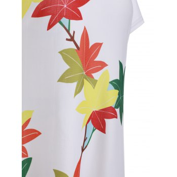 Casual Leaves Print High Low Shift Dress - WHITE XL