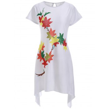 Casual Leaves Print High Low Shift Dress