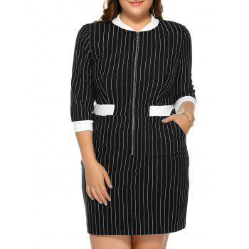 Plus Size Zip Stripe Shift Mini Dress