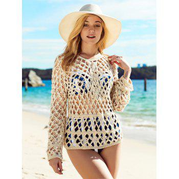 Long Sleeve See Through Crochet Cover-Up