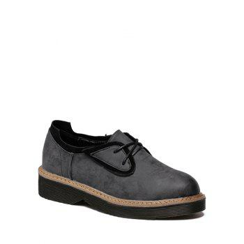 Tie Round Toe Splicing Platform Shoes BLACK GREY