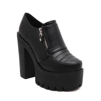 Platform Chunky Heel  Zipper Pumps