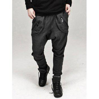 Drop Crotch Drawstring Zippered Narrow Feet Baggy Pants