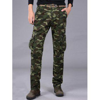 Loose-Fitting Multi-Pocket Straight Leg Camo Cargo Pants