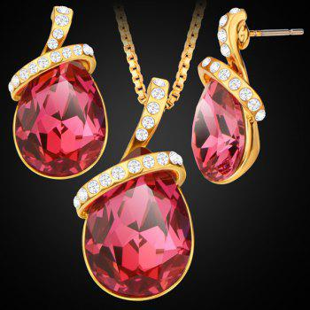 Rhinestone Faux Gem Teardrop Pendant Necklace Set