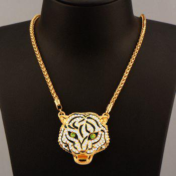 Tiger Head Rhinestoned Necklace Set - GOLDEN