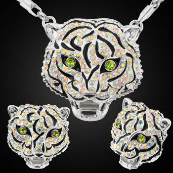 Tiger Head Rhinestoned Necklace Set