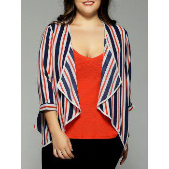 Plus Size Hit Color Stripe Chiffon Jacket - STRIPE 3XL