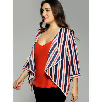 Plus Size Hit Color Stripe Chiffon Jacket - 3XL 3XL