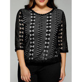 Plus Size Lace Openwork  Blouse