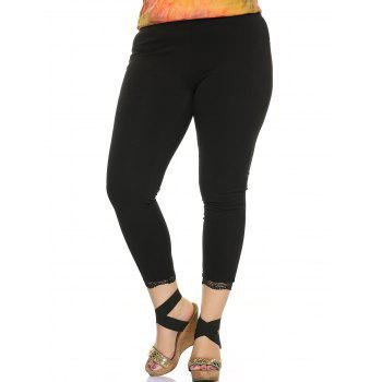 Plus Size Lace Trim Stretched Fit Pants