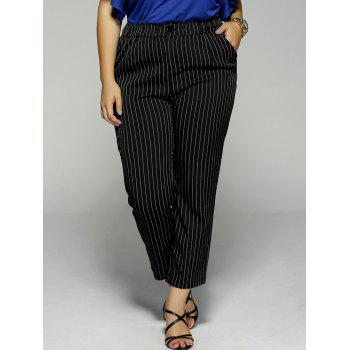 Plus Size Vertical Stripe Pocket Ankle Pants