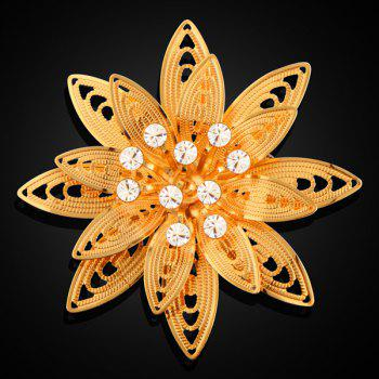 Rhinestone Layered Filigree Flower Brooch