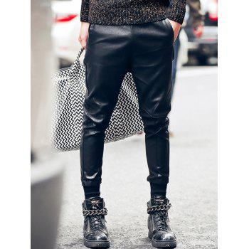 Slim Fit Faux Leather Spliced Jogger Pants