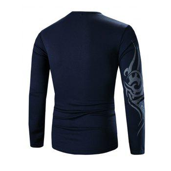 Casual Round Neck Long Sleeves Tee - DEEP BLUE 3XL