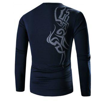Casual Round Neck Long Sleeves Printed Tee - DEEP BLUE 3XL