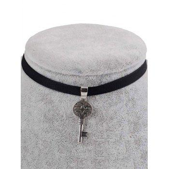 PU Leather Engraved Key Pendant Choker