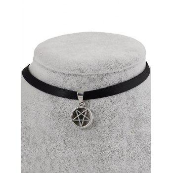PU Leather Pentagram Pendant Choker