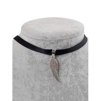 PU Leather Angel Wing Pendant Choker