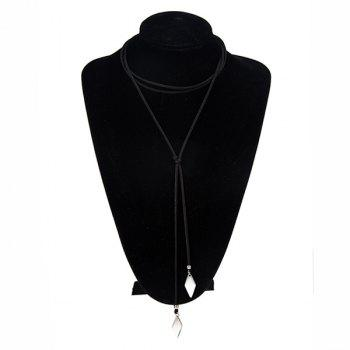 Faux Leather Velvet Geometric Shape Pendant Choker - BLACK