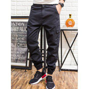 Pockets Design Loose Fit Elastic Hem Pants
