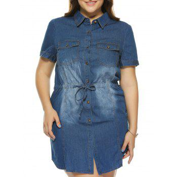 Oversized Elegant Bleach Wash Pocket Slimming Denim Dress