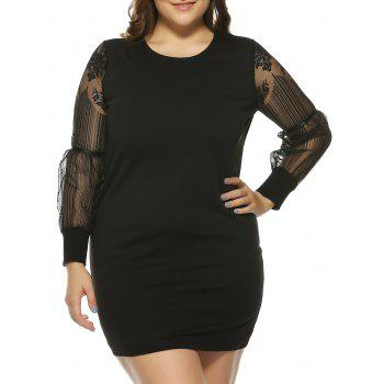 Plus Size Mesh Panel See-Through Mini Bodycon Dress