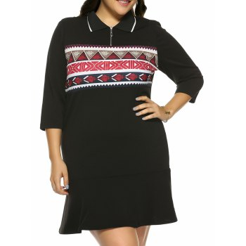 Plus Size Print Mini Fitted Dress