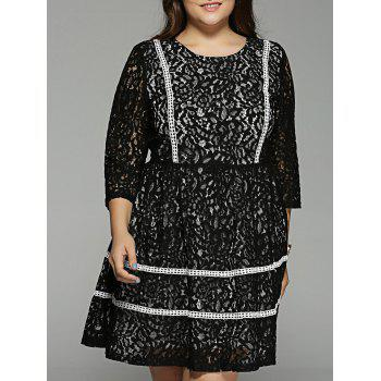 Plus Size Lace Crochet High Waisted Dress