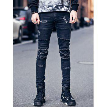 Skinny Zipper Fly Frayed Knee Patches Ripped Jeans