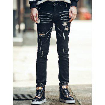 Baseball Printed Zipper Fly Crinkly Ripped Jeans