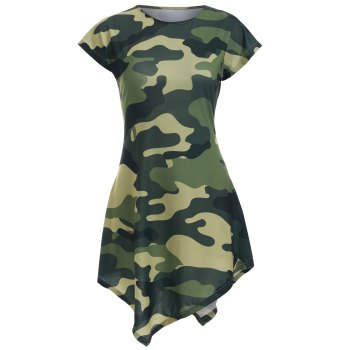 Camo Print Asymmetric Mini Dress