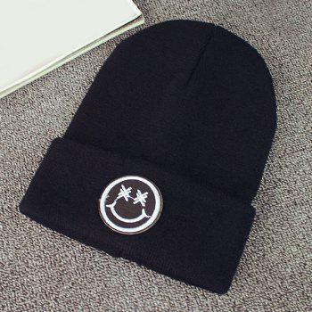 Warm Winter Smile Face Embroidery Label Flanging Knit Beanie
